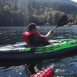 Here is Joe in the Intex Challenger K1 kayak at Buntzen Lake